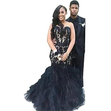 DingDingMail Women\'s Black Appliqued Lace Mermaid Strapless Prom ...