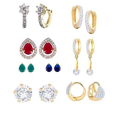 2323f1ca8 Zeneme Multi Color American Diamond Hoop Earring for Women/Girls(combo of  6): Amazon.in: Jewellery