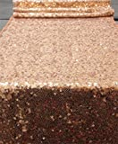 """TRLYC 12""""*60"""" Rose Gold Rectangle Sequin Table Runner For Wedding Banquet Events"""