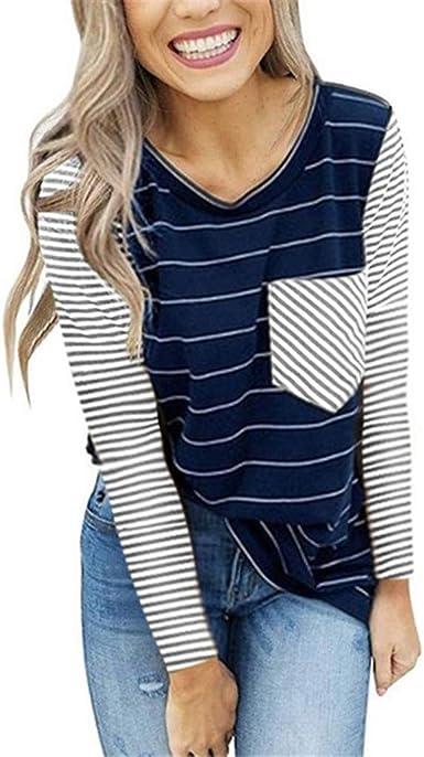 AIni Camisa De Manga Larga A Rayas Camisa Primavera OtoñO Camiseta con Bolsillo para Mujer Costura Color De Contraste Camisa Suelta Cuello Redondo Top Suave Y Confortable Camisas Elegantes Casual: Amazon.es: Ropa