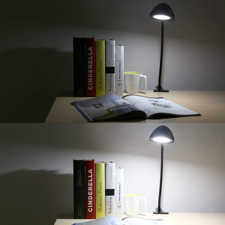 LT-ST8, blanc Aukey Lampe /à pince avec variateur pour bureau Bras flexible LED de protection des yeux Veilleuse de lecture nocturne Port USB et 2/niveaux de luminosit/é