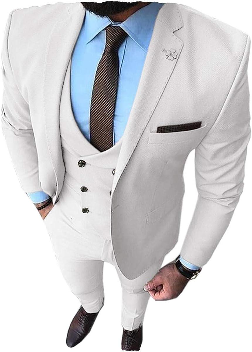 Aesido Mens Prom Tuxedos Fashion Double Breasted Suit Slim Fit 3 Piece Notch Lapel Wedding Groomsmen Blazer+Vest+Pants