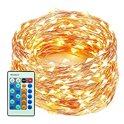 xtf2015 Outdoor LED Lights Flexible Dimmable Copper Wire Lights 33ft/10m 100LEDs Waterproof Starry Lights with Remote Control for Garden, Room, Wedding and Party, Warm White