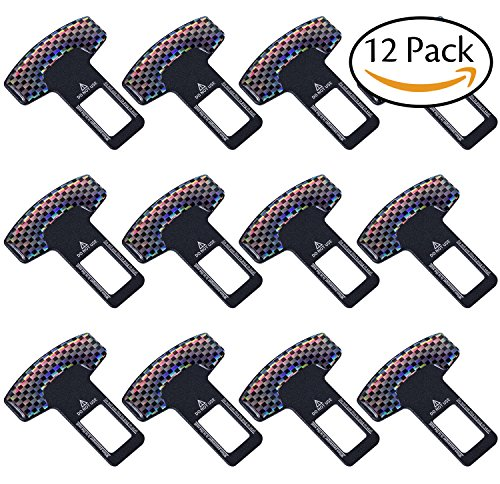 12 Pack, Car Seat Safety Belt Buckle Clip-Universal Vehicle Mounted Carbon Fiber Black Spun - Buckle Belt Seat Lock