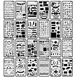 24PCS Bullet Journal Stencil, CiaraQ 4x7 Inch Plastic Planner Stencils Journal/Notebook/Diary/Scrapbook DIY Drawing Template Stencil (Journal Stenci)