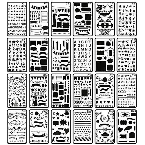 Bullet Journal Stencil, CiaraQ 24 Pieces 4x7 Inch Plastic Planner Stencils Journal/Notebook/Diary/Scrapbook DIY Drawing Template Stencil