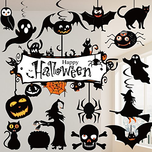 31 Pcs Halloween Hanging Decoration Swirl Ceiling Party Supplies, Cats, Pumpkin, Ghosts, Witches, Banner, Spiders, Bats and (Classroom Halloween Party Ideas)