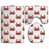 Huayaa Bathroom Non-Skid Carpet Bath Rugs 3 Pieces Set Water-Absorbing Crab Wallpaper Flannel Toilet Floor Bath Mats Contour Rug Lid Cover
