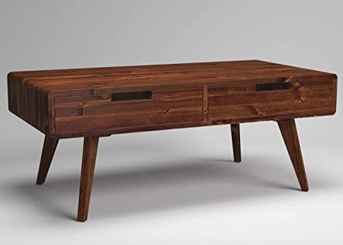 Vintage Retro Through Drawer Box Coffee Table With Scandi Style Legs Solid Wood Two Drawer