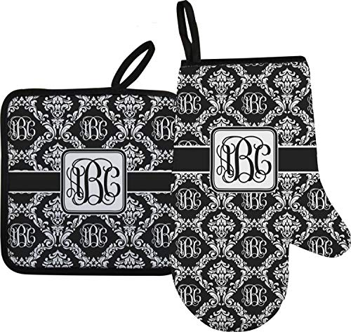 Mitts Oven Personalized - RNK Shops Monogrammed Damask Oven Mitt & Pot Holder (Personalized)