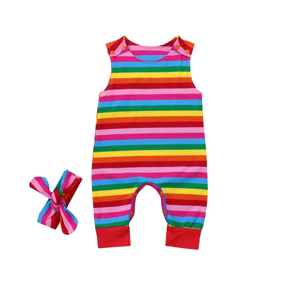 Vincent&July Baby Girls Sleeveless Rainbow Striped Romper+Headbands Set