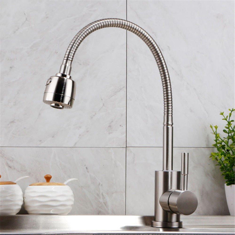 Warmes und kaltes drehendes Waschbecken der Küchenedelstahlhahn mit Duschhahn