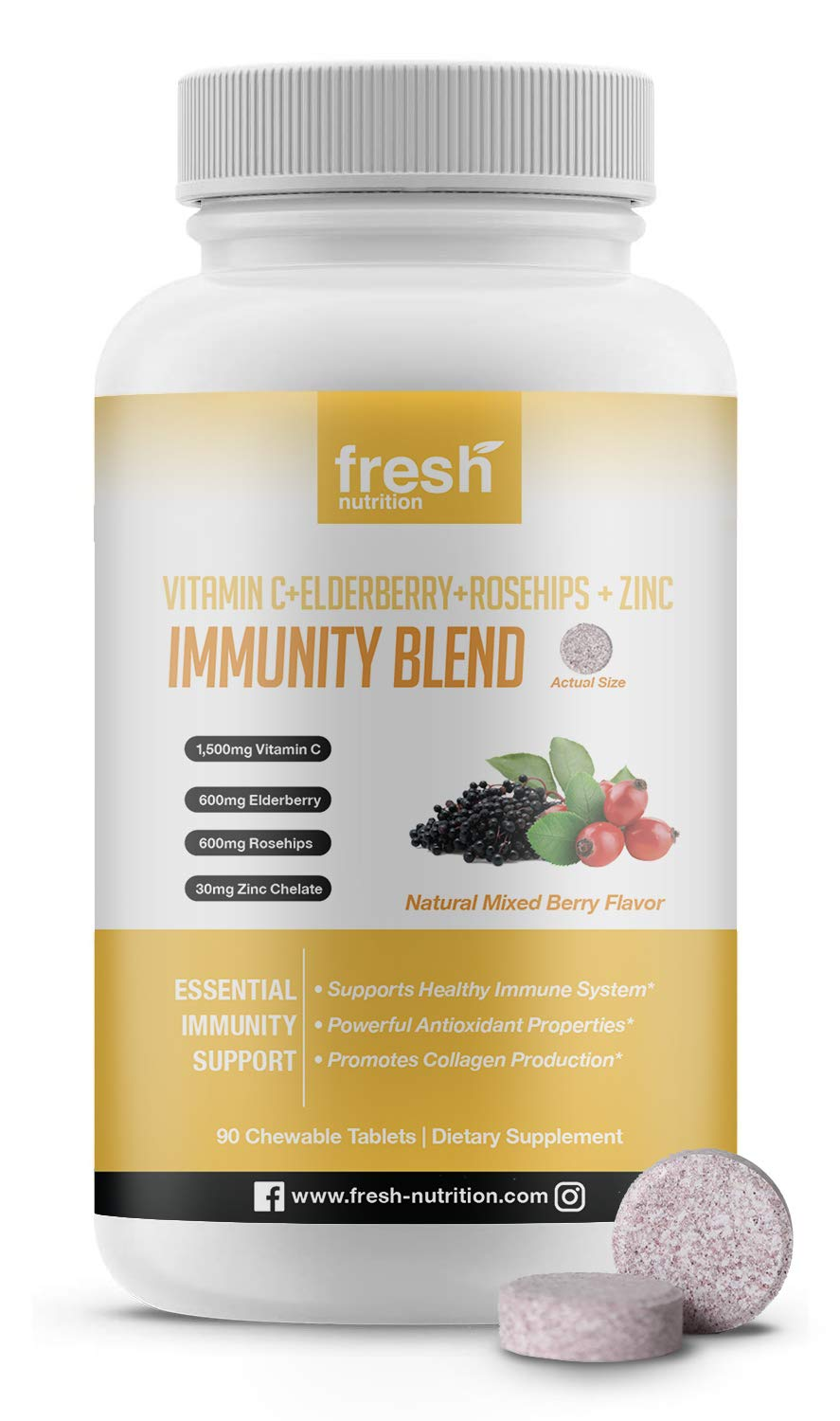 Tasty Chewable Blend of Vitamin C 1500mg, Elderberry 600mg, Rose Hips 600mg and Zinc 30mg Per Serving/ Per Day - Vegan Friendly, Non GMO