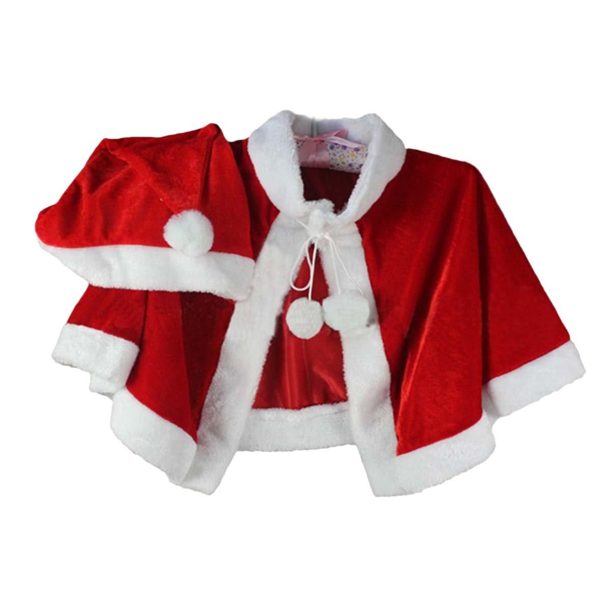 Fygood Capa roja de terciopelo, disfraz infantil/adulto para Navidad Cape+ Bonnet Talla:Enfant/Longueur 41cm