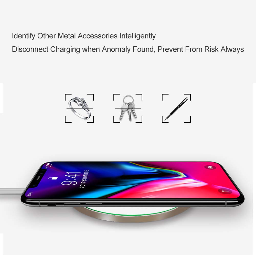 White 10W Fast Wireless Charger Pad//Mat Upgraded,QI-Certified Ultra Thin Round Alloy Wireless Charging Station Compatible with iPhone Xs XR Max iXR X 8//8P//Galaxy S9 S8 S7 Note 9//8 Huawei Mate20