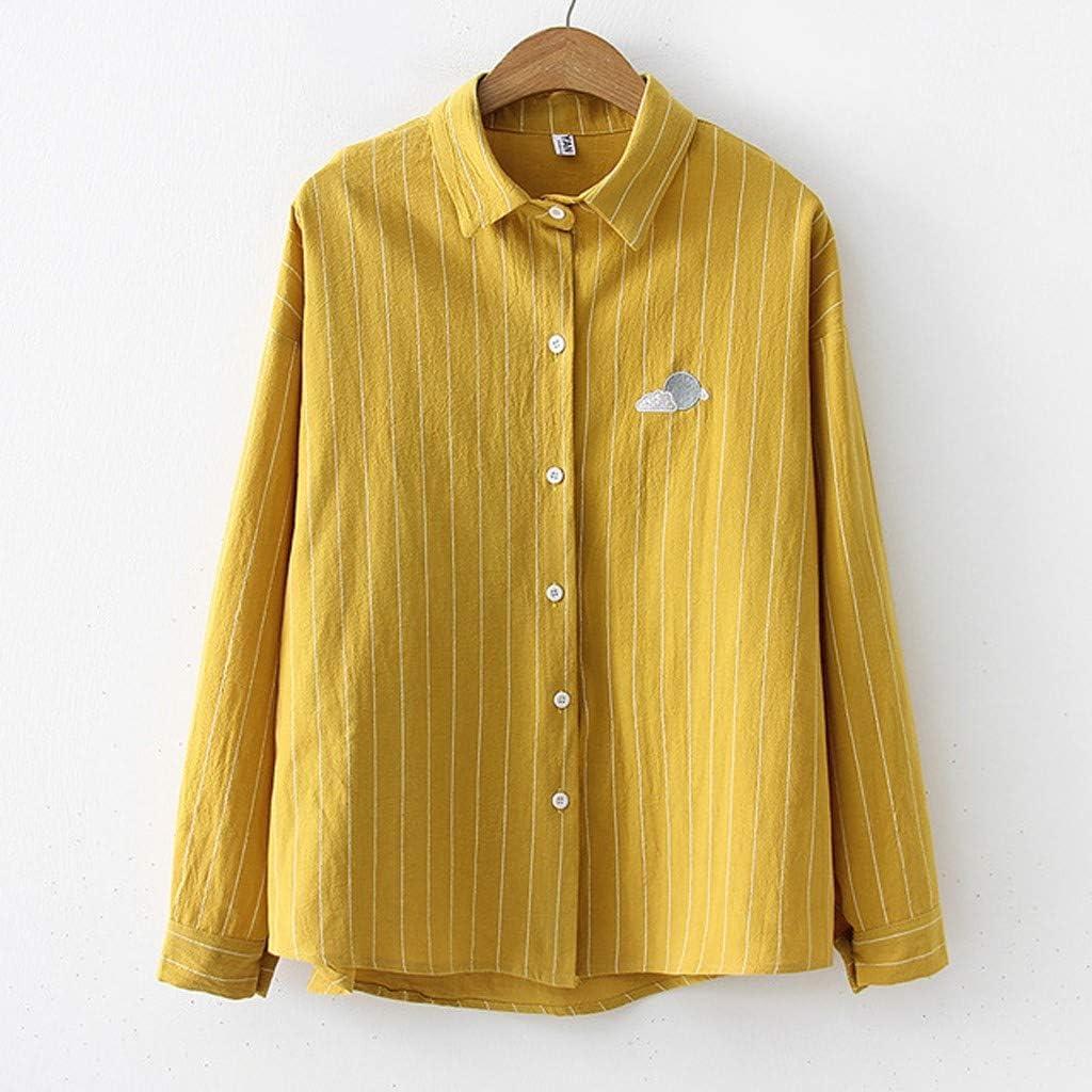 AMhomely - Blusa informal para mujer, talla grande, camiseta de manga larga Dorado Amarillo-4 S: Amazon.es: Ropa y accesorios