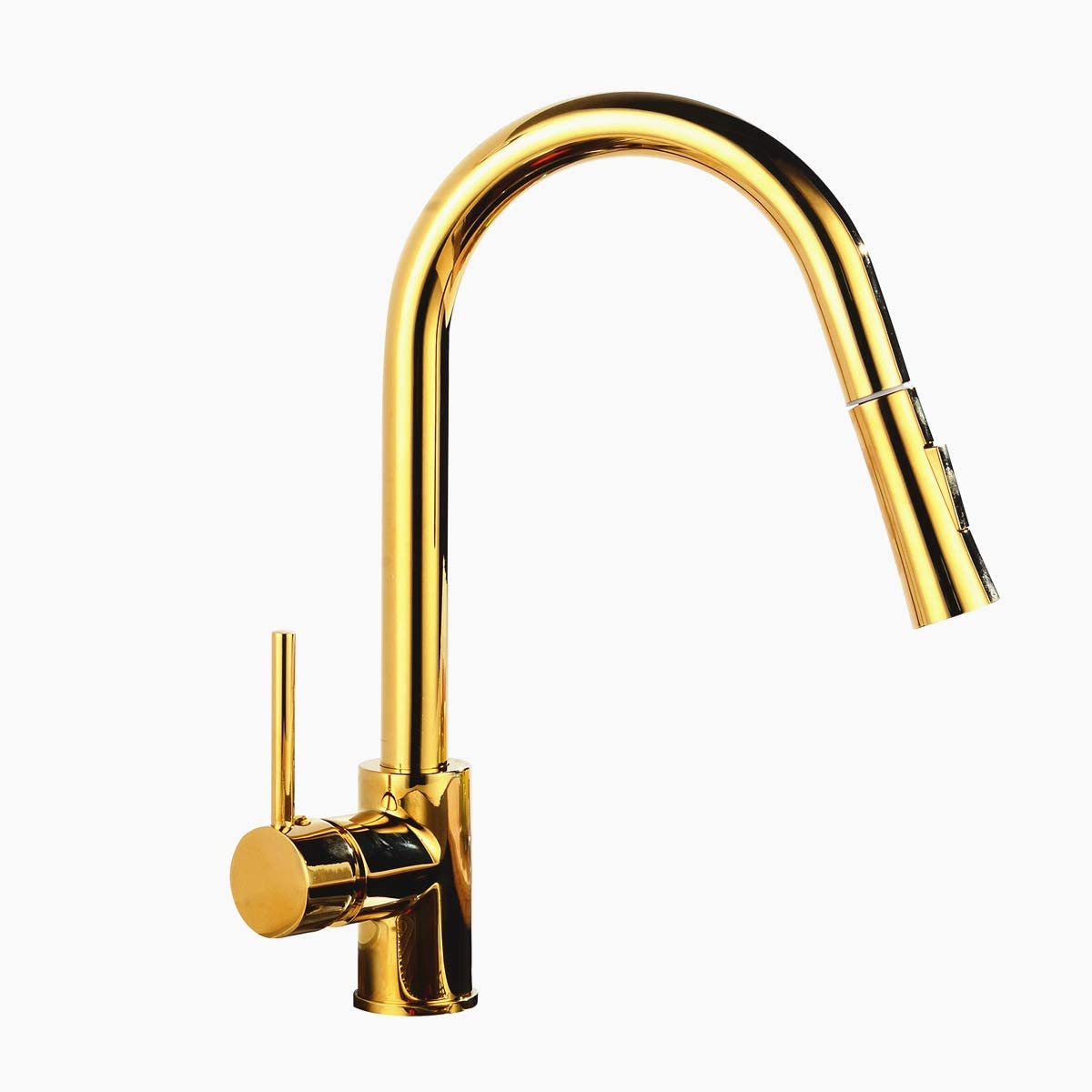 YUELIFE Faucet Kitchen Brass Single Handle Kitchen Sink Faucet with Pull Out Sprayer MY-KF016,Gold
