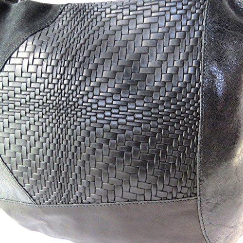 """Gianni Conti [N8026] - Sac cuir """"Gianni Conti"""" noir patchwork - 40x30x18 cm"""