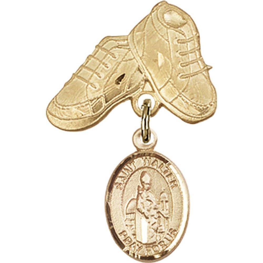 14kt Yellow Gold Baby Badge with St. Walter of Pontnoise Charm and Baby Boots Pin 1 X 5/8 inches