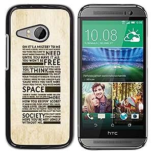 YiPhone /// Prima de resorte delgada de la cubierta del caso de Shell Armor - Freedom Of Society Typography - HTC ONE MINI 2 / M8 MINI