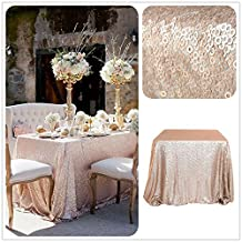 "TRLYC 50""*85"" Party Champagne Table Cloth Sequin Tablecloth for Wedding"