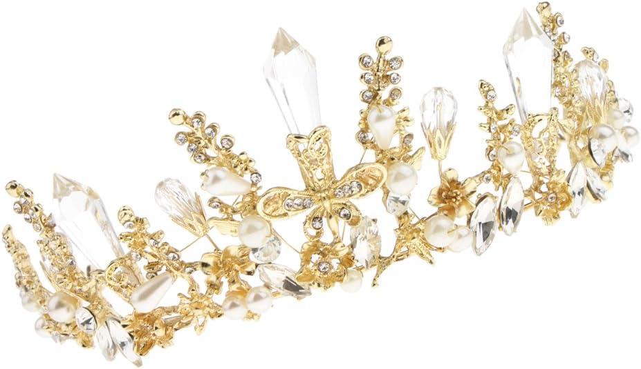 Sharplace Anniversaire Princesse Serre-T/ête Couronne Ornement Cheveux Tiare en Strass Alliage Accessoire de Charme de Cheveux F/ête Anniversaire
