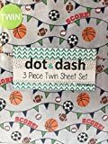 Dot and Dash Basketball Soccer Football Baseball Sport Sheets with SCORE! on Grey - 3 Piece Sports Sheet Set