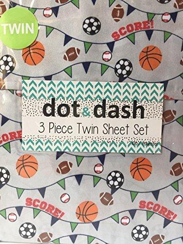 Dot and Dash Basketball Soccer Football Baseball Sport Sheets with SCORE! on Grey - 3 Piece Sports Sheet Set