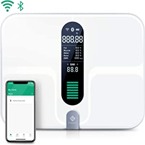 Etekcity WiFi Smart Scale, USB Rechargeable Bluetooth Body Fat Scale - Digital Bathroom Weight Scale with 12 Body Composition Measurements, Extra-Large Platform & ITO Conductive Glass, 400lb (180kg)