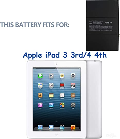 Vvsialeek A1389 Bater/ía compatible con iPad 3 A1416 A1430 iPad 4 A1458 A1459 A1460 616-0586 616-0591 616-0592 616-0593 616-0604 con kit de herramientas