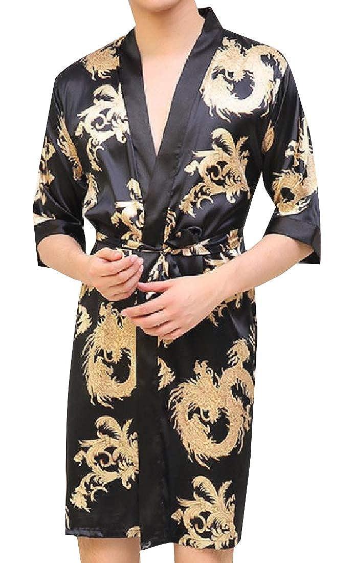 VITryst-Men Imitated Silk Graphic Print Tie Waist Luxurious Bathrobe