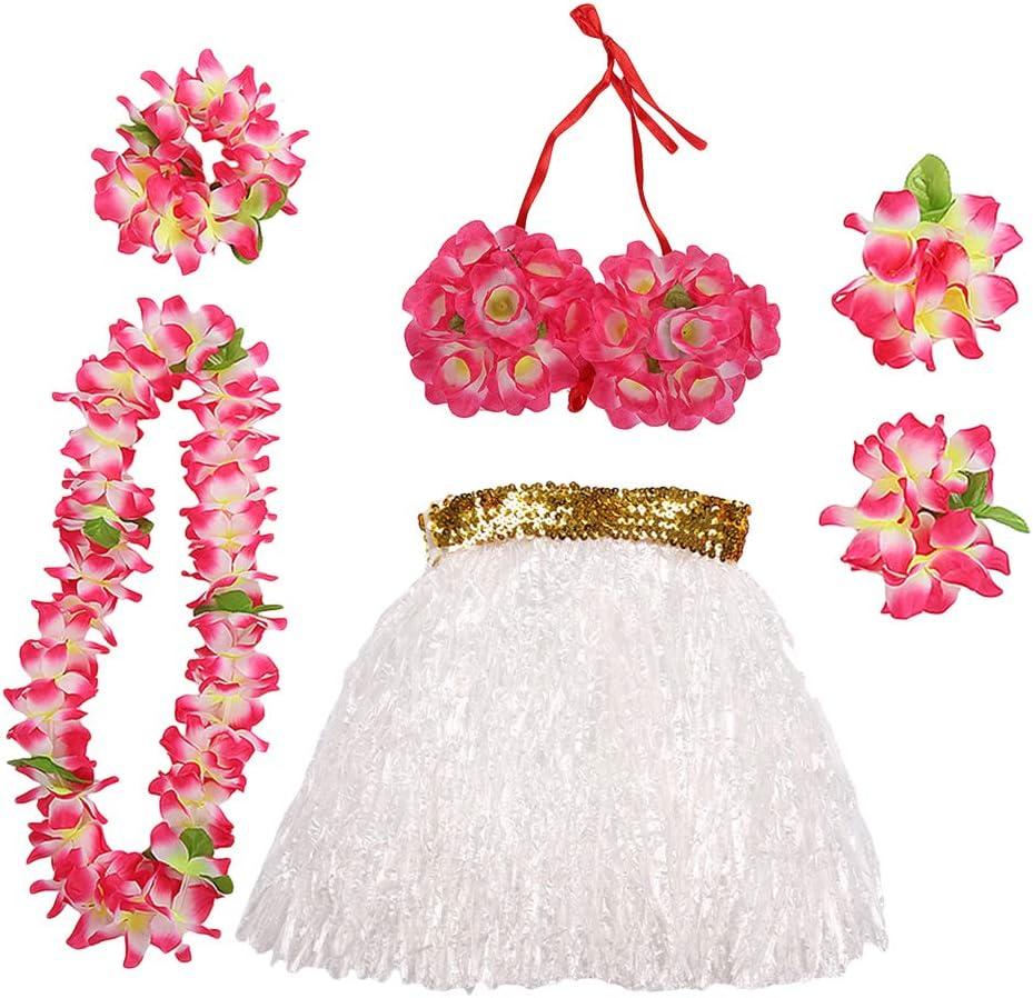 EG/_ 5PCS WOMEN HAWAIIAN FANCY DRESS GRASS STRAW SKIRT LEI WRISTBAND FLOWER HULA