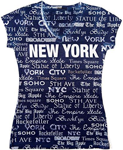 (Sweet Gisele New York Inspired Stud Embellished Short-Sleeved T-Shirt - Medium (Navy))