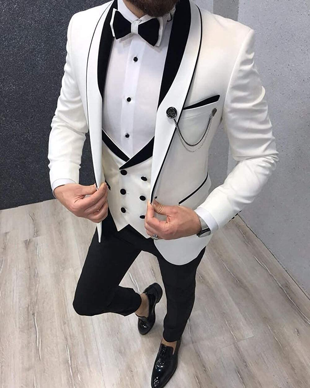 Aesido Men's Casual Suits Slim Fit 3 Piece Prom Tuxedos Shawl Lapel Double Breasted Vest Blazer Pants Grooms Wedding Party Light Blue