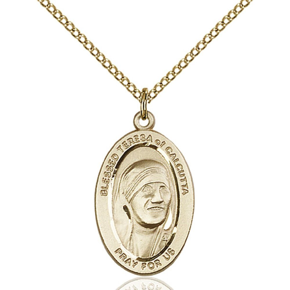 Gold Filled St. Teresa of Calcutta Pendant 7/8 x 1/2 inches with Gold Filled Lite Curb Chain by Bonyak Jewelry Saint Medal Collection