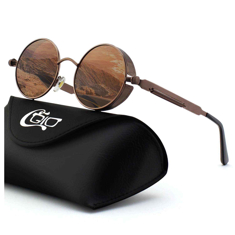 CGID E72 Steampunk estilo retro inspirado círculo metálico redondo gafas de sol polarizadas para hombres product