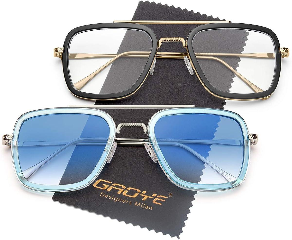 Retro Mens Metal Rim Flat Panel Clear Lens Aviator Eye Glasses