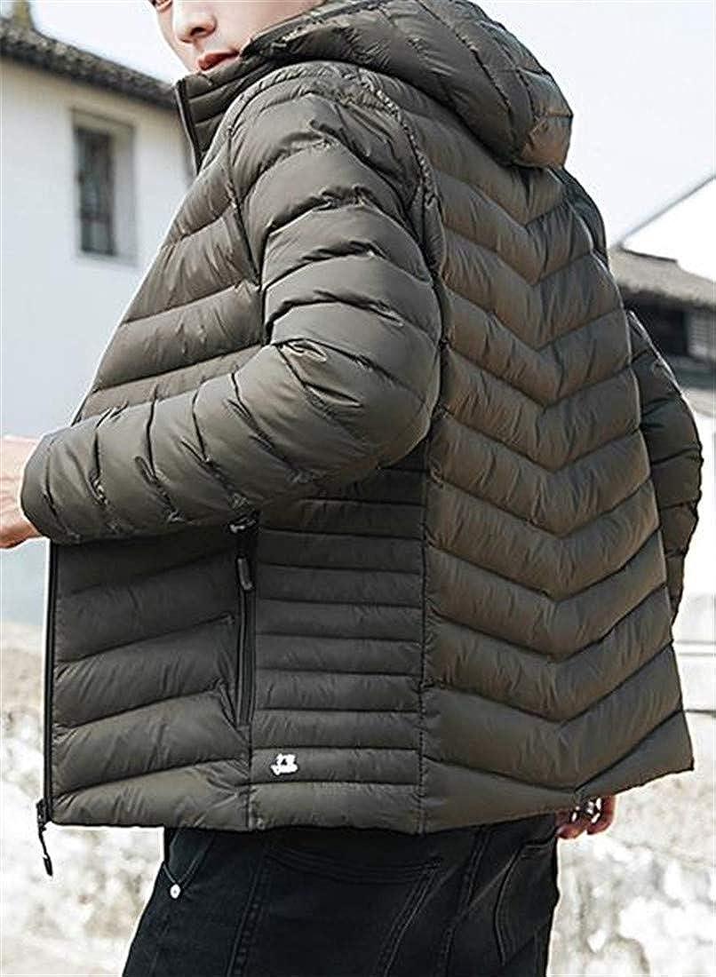 Macondoo Mens Winter Packable Puffer Warm Down Jacket Hooded Parka Coat