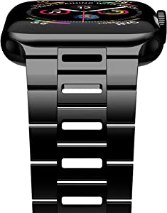 iiteeology Compatible with Apple Watch Band SE/Series 6/5/4 44mm Series 3/2/1 42mm, Ultra Thin Breathable Stainless Steel iWatch Band Strap for Men Women - Black
