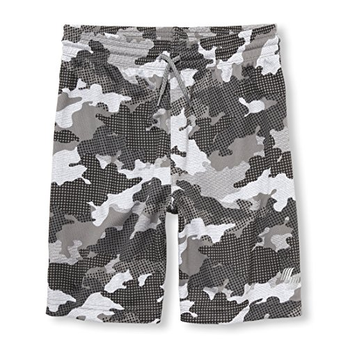 The Children's Place Big Boys' Mesh Active Shorts, Frost Gray 97484, XS (4)