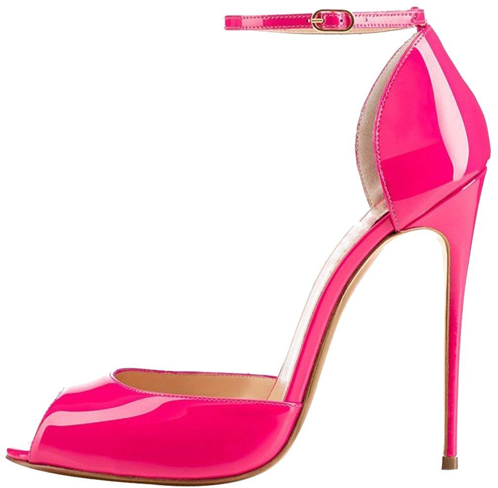Calaier Mujer Cafarmer Tacón De Aguja 12CM Sintético Hebilla Zapatos de tacón 35.5|Rosa