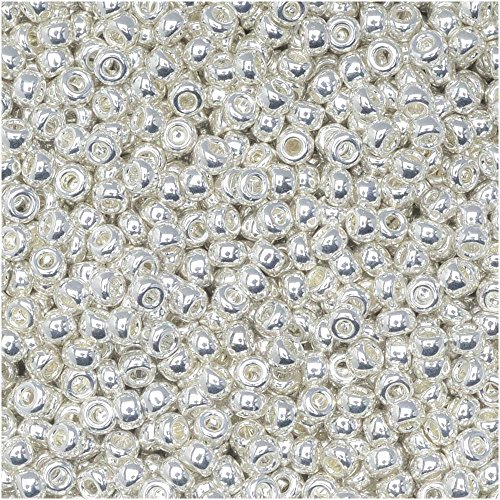 (Miyuki Round Seed Beads, 11/0 Size, 50 Gram Bulk Bag, 961 Bright Sterling (Silver Plated))