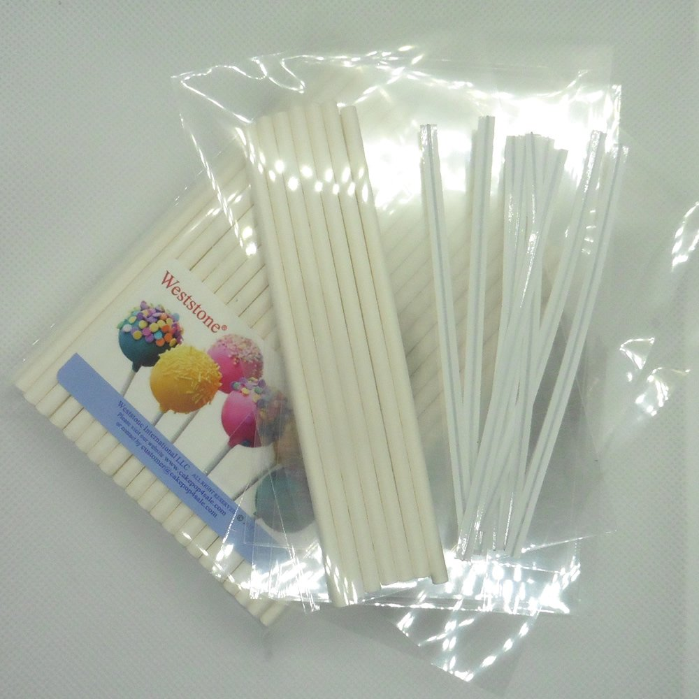 Weststone 100pcs 6'' Lollipop Sticks + 100 Poly Bags + 100 White Twist Ties for Cake Pops