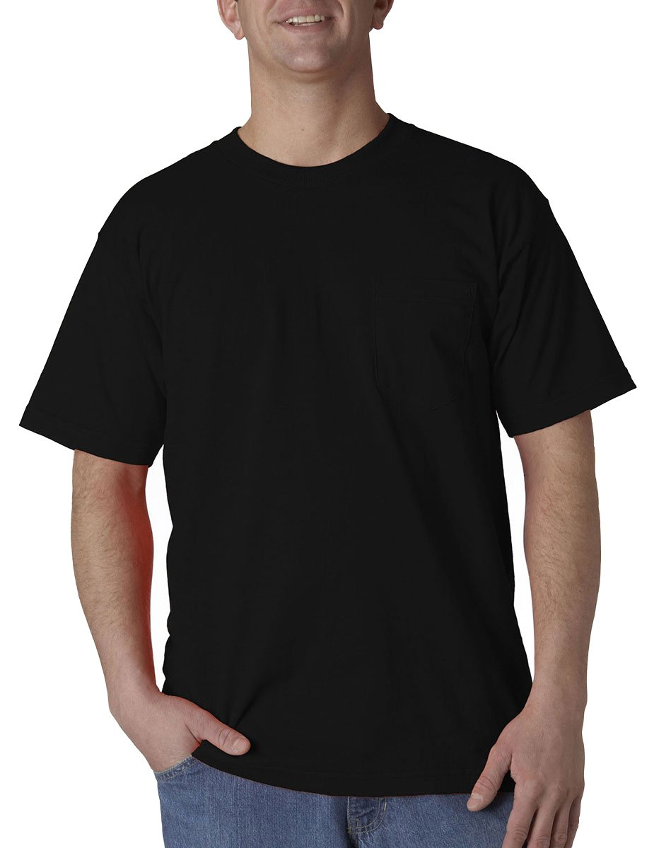 Union Made Adult Style Preshrunk Bottom Pocket T-Shirt, Black, S Pack of 12