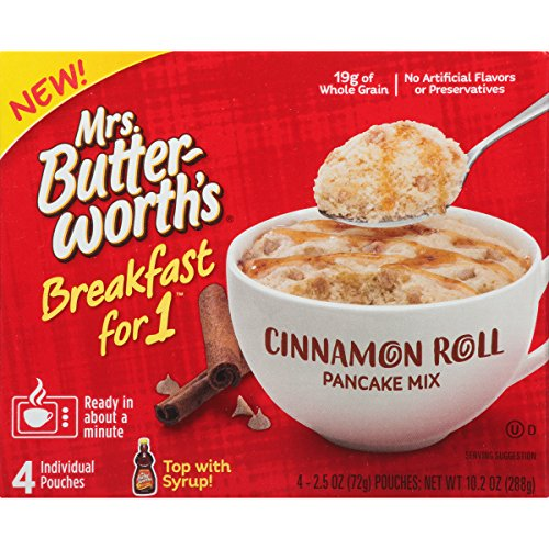 Mrs. Butterworth's Breakfast for 1, Single Serve Pancake Mix, Warm Breakfast in Minutes, Cinnamon Roll, 4 ()