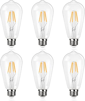 Shine Hai 6 Pack 4W ST64 Vintage Edison Light Bulb
