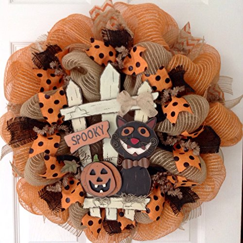 Halloween Wreath Spooky Cat with Jack O'Lantern Sitting by Fence Handmade Deco Mesh