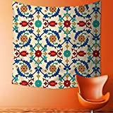 Printsonne Polyester Fabric Wall Decor Nostalgic Islamic Art Motifs with Floral Ornaments with Baroque Inspirations Ethnic Design Multi Wall Hanging Bedroom Living Room Dorm Home Decor Tapestry