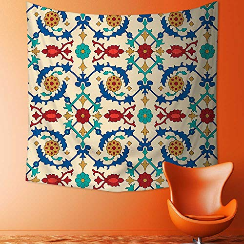 Printsonne Polyester Fabric Wall Decor Nostalgic Islamic Art Motifs with Floral Ornaments with Baroque Inspirations Ethnic Design Multi Wall Hanging Bedroom Living Room Dorm Home Decor Tapestry by Printsonne