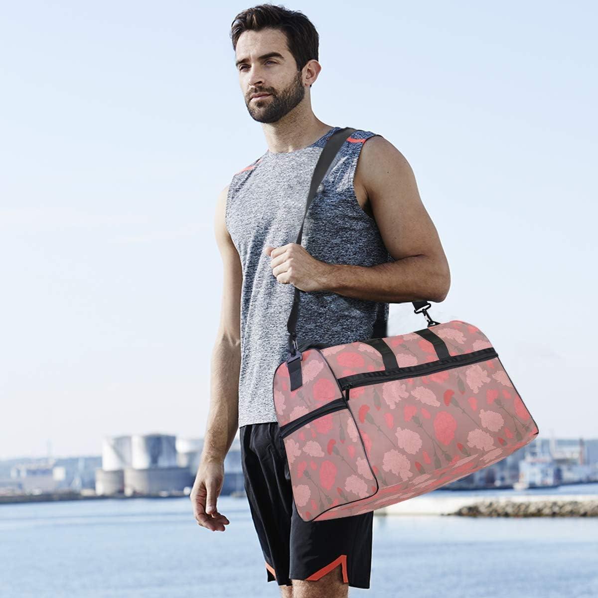 MALPLENA Carnation Petal Pattern Packable Duffle Bag For Men Women Tear Resistant Sports Duffle